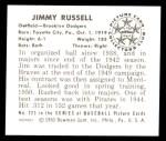 1950 Bowman REPRINT #223  Jim Russell  Back Thumbnail