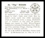 1950 Bowman Reprints #232  Al Rosen  Back Thumbnail