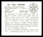 1950 Bowman REPRINT #232  Al Rosen  Back Thumbnail
