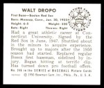 1950 Bowman REPRINT #246  Walt Dropo  Back Thumbnail