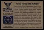 1954 Bowman U.S. Navy Victories #13   Naval Forces take Monterey Back Thumbnail