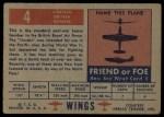 1952 Topps Wings #4   Lincoln Back Thumbnail