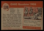 1954 Topps World on Wheels #120   Ohio Roadster 1908 Back Thumbnail