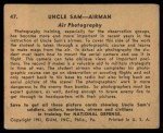 1941 Gum Inc. Uncle Sam Home Defense #47   Air Photography Back Thumbnail