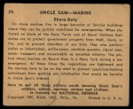 1941 Gum Inc. Uncle Sam Home Defense #29   Shore Duty Back Thumbnail