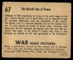 1939 Gum Inc. War News Pictures #67   The Mareth Line of France Back Thumbnail