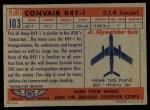 1957 Topps Planes #103 RED  Convair R4y-1 Back Thumbnail
