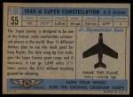 1957 Topps Planes #55 BLU  Lockheed 1049-G Back Thumbnail