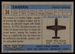 1957 Topps Planes #34 BLU  Lansen Back Thumbnail