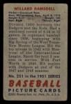 1951 Bowman #251  Willard Ramsdell  Back Thumbnail