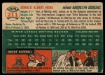 1954 Topps #211  Don Hoak  Back Thumbnail
