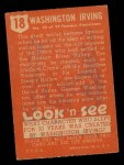 1952 Topps Look 'N See #18  Washington Irving  Back Thumbnail