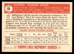 1952 Topps REPRINT #33  Warren Spahn  Back Thumbnail