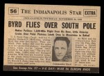 1954 Topps Scoop #56   Byrd Reaches South Pole Back Thumbnail