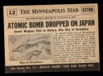 1954 Topps Scoop #12   First Atom Bomb Dropped Back Thumbnail