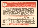 1952 Topps Reprints #74  Andy Hansen  Back Thumbnail