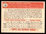 1952 Topps REPRINT #158  Eddie Waitkus  Back Thumbnail