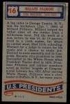 1956 Topps U.S. Presidents #16  Millard Fillmore  Back Thumbnail