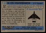 1957 Topps Planes #52 BLU  Stratofreighter Back Thumbnail