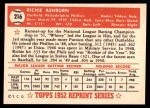 1952 Topps REPRINT #216  Richie Ashburn  Back Thumbnail