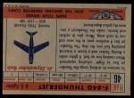 1957 Topps Planes #46 RED  F84-G Thunderjet Back Thumbnail