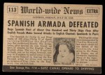 1954 Topps Scoop #113   Spanish Armada Defeated Back Thumbnail