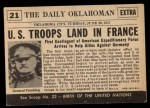1954 Topps Scoop #21   US Troops Reach France Back Thumbnail