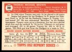 1952 Topps REPRINT #281  Tom Brown  Back Thumbnail