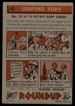 1956 Topps Round Up #40   -  Wyatt Earp Leaping Fury Back Thumbnail