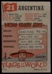 1956 Topps Flags of the World #21   Argentina Back Thumbnail