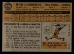 1960 Topps #326  Roberto Clemente  Back Thumbnail