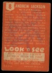 1952 Topps Look 'N See #8  Andrew Jackson  Back Thumbnail
