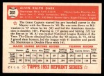 1952 Topps REPRINT #351  Alvin Dark  Back Thumbnail