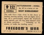 1950 Topps Freedoms War #152   Night Bombardment  Back Thumbnail
