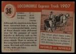 1954 Topps World on Wheels #36   Locomobile Express Truck 1907 Back Thumbnail