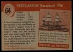 1954 Topps World on Wheels #64   Pierce-Arrow Raceabout 1916 Back Thumbnail