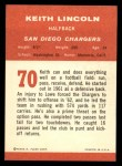 1963 Fleer #70  Keith Lincoln  Back Thumbnail