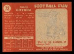 1958 Topps #73  Frank Gifford  Back Thumbnail