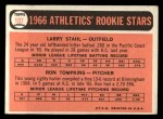 1966 Topps #107   -  Larry Stahl / Ron Tompkins A's Rookies Back Thumbnail