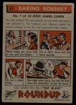 1956 Topps Round Up #57   -  Jesse James  Daring Robbery Back Thumbnail