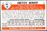 1953 Bowman REPRINT #36  Minnie Minoso  Back Thumbnail