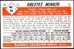 1953 Bowman Reprints #36  Minnie Minoso  Back Thumbnail