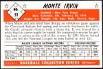 1953 Bowman REPRINT #51  Monte Irvin  Back Thumbnail