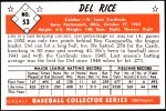 1953 Bowman REPRINT #53  Del Rice  Back Thumbnail