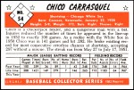 1953 Bowman REPRINT #54  Chico Carrasquel  Back Thumbnail