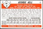 1953 Bowman REPRINT #61  George Kell  Back Thumbnail