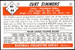 1953 Bowman REPRINT #64  Curt Simmons  Back Thumbnail