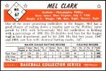 1953 Bowman REPRINT #67  Mel Clark  Back Thumbnail