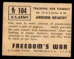 1950 Topps Freedoms War #104   Airborne Infantry  Back Thumbnail