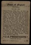 1952 Bowman U.S. Presidents #23  James Garfield   Back Thumbnail